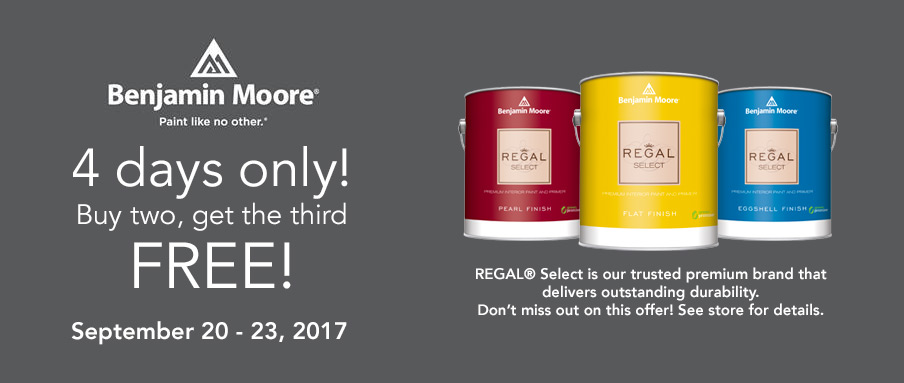 Benjamin Moore Sept. 20-23, 2017 Paint Sale